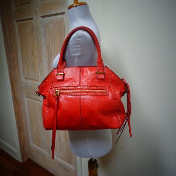 Elliott Lucca Handbags - ELLIOTT LUCCA RED LEATHER HANDBAG PURSE